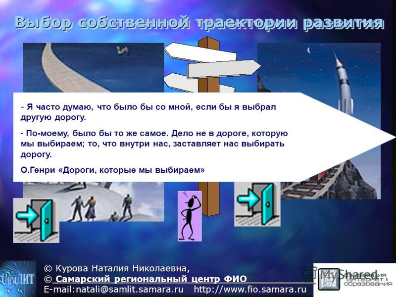 © Курова Наталия Николаевна, © Самарский региональный центр ФИО___________ E-mail:natali@samlit.samara.ru http://www.fio.samara.ru Выбор собственной траектории развития - - Я часто думаю, что было бы со мной, если бы я выбрал другую дорогу. - - По-мо
