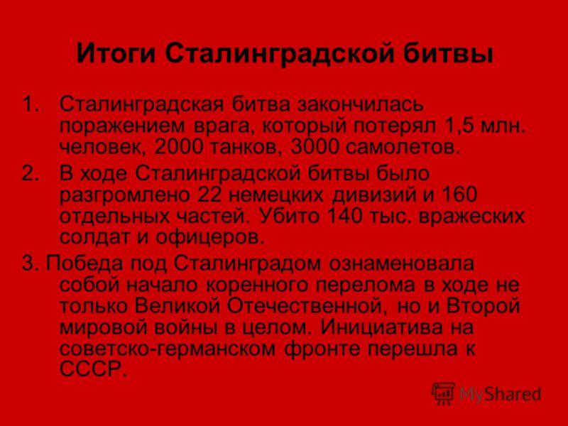 Итоги Сталинградской битвы 1.Сталинградская битва закончилась поражением врага, который потерял 1,5 млн. человек, 2000 танков, 3000 самолетов. 2.В ходе Сталинградской битвы было разгромлено 22 немецких дивизий и 160 отдельных частей. Убито 140 тыс. в