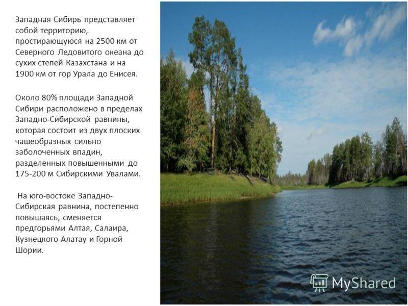 Западная Сибирь представляет собой территорию, простирающуюся на 2500 км от Северного Ледовитого океана до сухих степей Казахстана и на 1900 км от гор Урала до Енисея. Около 80% площади Западной Сибири расположено в пределах Западно-Сибирской равнины