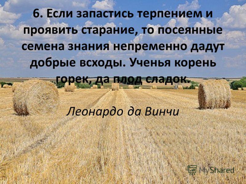 6. Если запастись терпением и проявить старание, то посеянные семена знания непременно дадут добрые всходы. Ученья корень горек, да плод сладок. Леонардо да Винчи