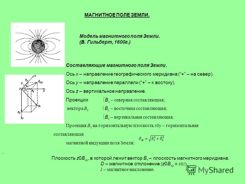 МАГНИТНОЕ ПОЛЕ ЗЕМЛИ. Модель магнитного поля Земли. (В. Гильберт, 1600г.) Составляющие магнитного поля Земли. Ось x – направление географического меридиана (+ – на север). Ось y – направление параллели (+ – к востоку). Ось z – вертикальное направлени