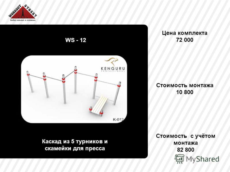 Цена комплекта 72 000 WS - 12 Каскад из 5 турников и скамейки для пресса Стоимость монтажа 10 800 Стоимость с учётом монтажа 82 800