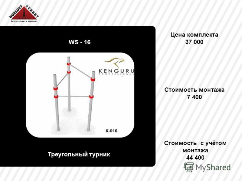 Цена комплекта 37 000 WS - 16 Треугольный турник Стоимость монтажа 7 400 Стоимость с учётом монтажа 44 400