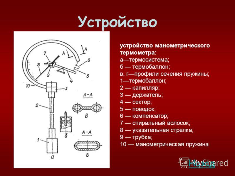 Устройство устройство манометрического термометра: aтермосистема; б термобаллон; в, гпрофили сечения пружины; 1термобаллон; 2 капилляр; 3 держатель; 4 сектор; 5 поводок; 6 компенсатор; 7 спиральный волосок; 8 указательная стрелка; 9 трубка; 10 маноме