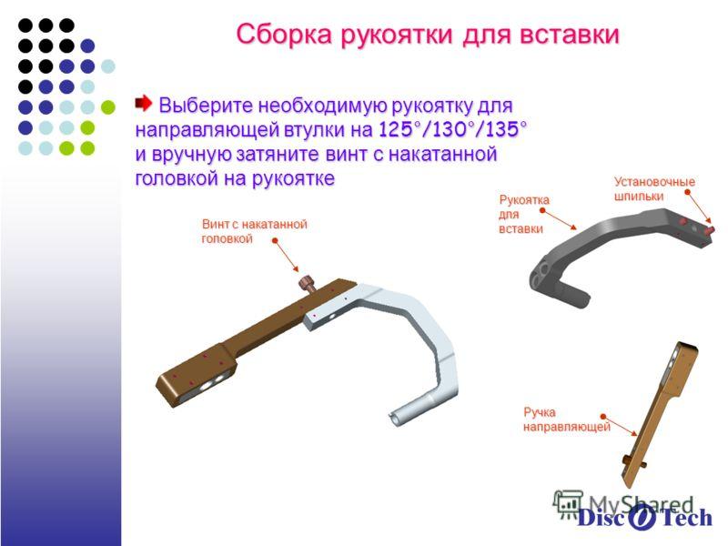 Сборка рукоятки для вставки Выберите необходимую рукоятку для направляющей втулки на 125°/130°/135° и вручную затяните винт с накатанной головкой на рукоятке Выберите необходимую рукоятку для направляющей втулки на 125°/130°/135° и вручную затяните в