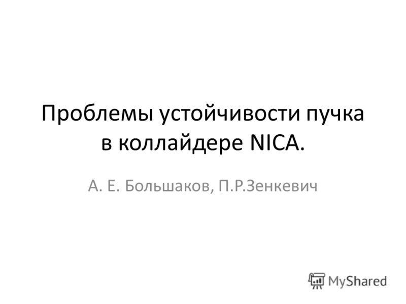 Проблемы устойчивости пучка в коллайдере NICA. А. Е. Большаков, П.Р.Зенкевич
