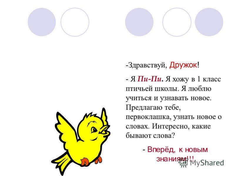-Здравствуй, Дружок! - Я Пи-Пи. Я хожу в 1 класс птичьей школы. Я люблю учиться и узнавать новое. Предлагаю тебе, первоклашка, узнать новое о словах. Интересно, какие бывают слова? - Вперёд, к новым знаниям !!!