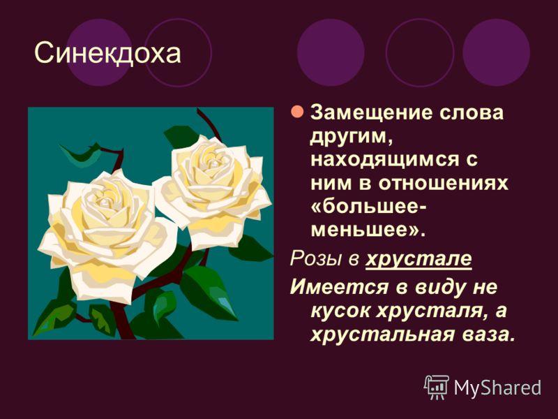Синекдоха Замещение слова другим, находящимся с ним в отношениях «большее- меньшее». Розы в хрустале Имеется в виду не кусок хрусталя, а хрустальная ваза.