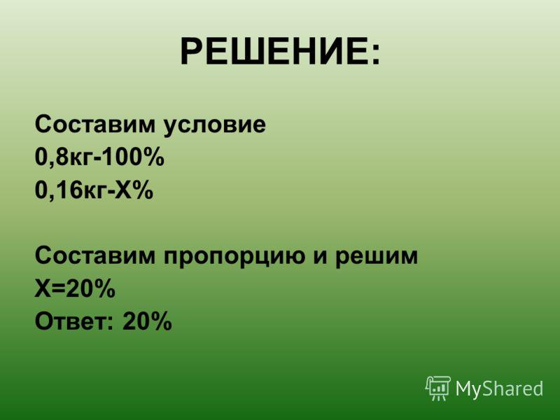 РЕШЕНИЕ: Составим условие 0,8кг-100% 0,16кг-Х% Составим пропорцию и решим Х=20% Ответ: 20%