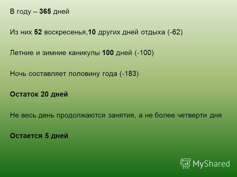 В году – 365 дней Из них 52 воскресенья,10 других дней отдыха (-62) Летние и зимние каникулы 100 дней (-100) Ночь составляет половину года (-183) Остаток 20 дней Не весь день продолжаются занятия, а не более четверти дня Остается 5 дней