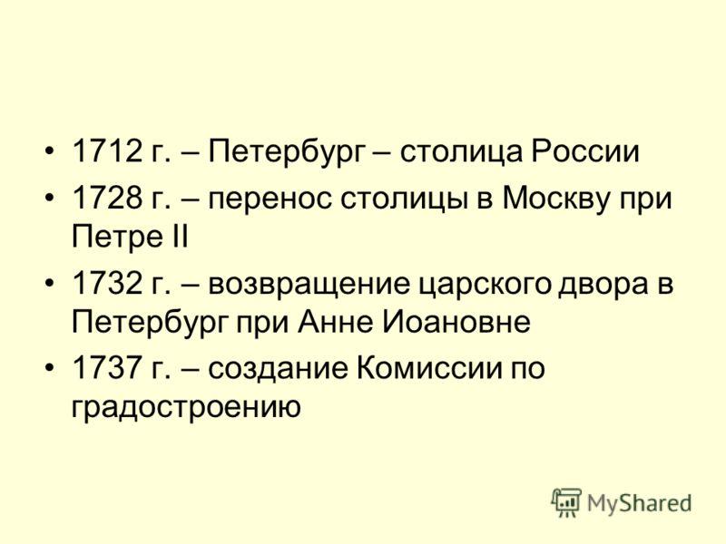 1712 г. – Петербург – столица России 1728 г. – перенос столицы в Москву при Петре II 1732 г. – возвращение царского двора в Петербург при Анне Иоановне 1737 г. – создание Комиссии по градостроению