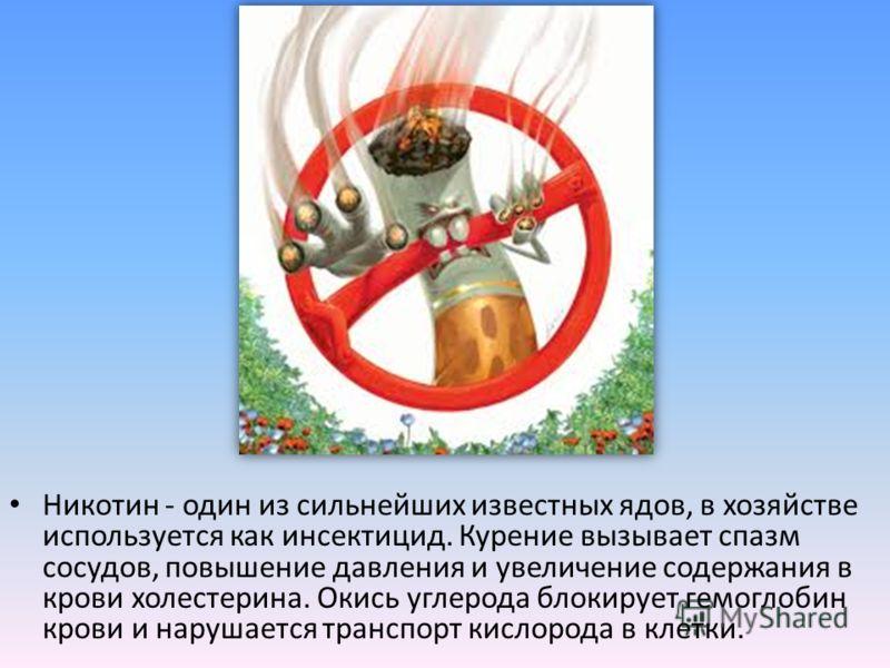 Никотин - один из сильнейших известных ядов, в хозяйстве используется как инсектицид. Курение вызывает спазм сосудов, повышение давления и увеличение содержания в крови холестерина. Окись углерода блокирует гемоглобин крови и нарушается транспорт кис