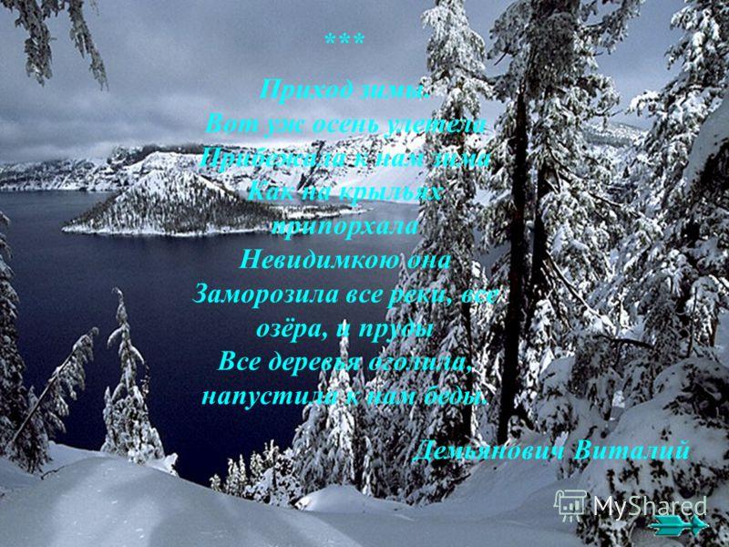 Приход зимы. Вот уж осень улетела Прибежала к нам зима Как на крыльях припорхала Невидимкою она Заморозила все реки, все озёра, и пруды Все деревья оголила, напустила к нам беды. Демьянович Виталий ***