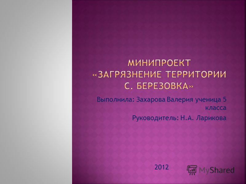 Выполнила: Захарова Валерия ученица 5 класса Руководитель: Н.А. Ларикова 2012