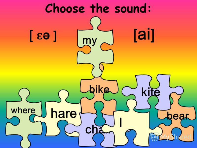 Choose the sound: bear hare where chair [ ɛ ə ] [ ai ] bike kite I my