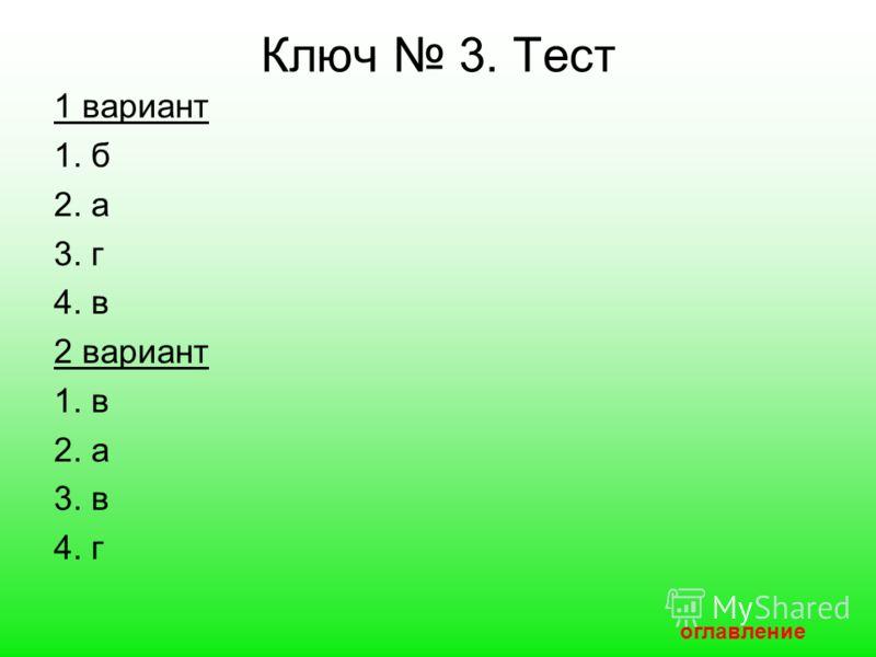 Ключ 3. Тест 1 вариант 1. б 2. а 3. г 4. в 2 вариант 1. в 2. а 3. в 4. г оглавление