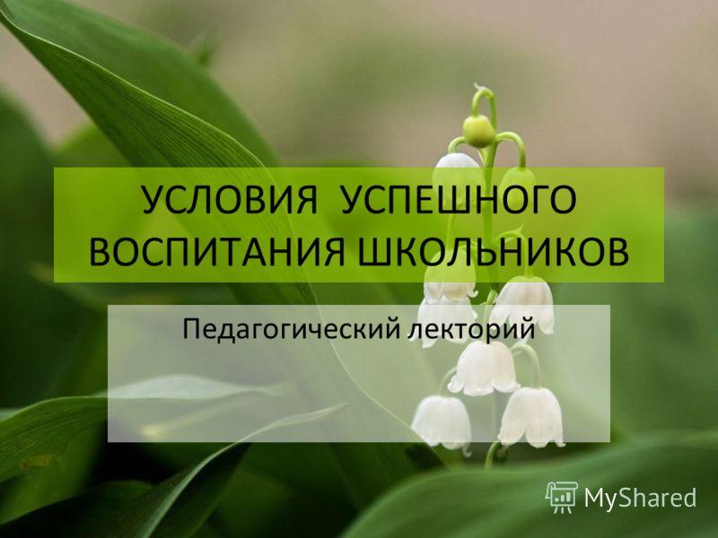 УСЛОВИЯ УСПЕШНОГО ВОСПИТАНИЯ ШКОЛЬНИКОВ Педагогический лекторий