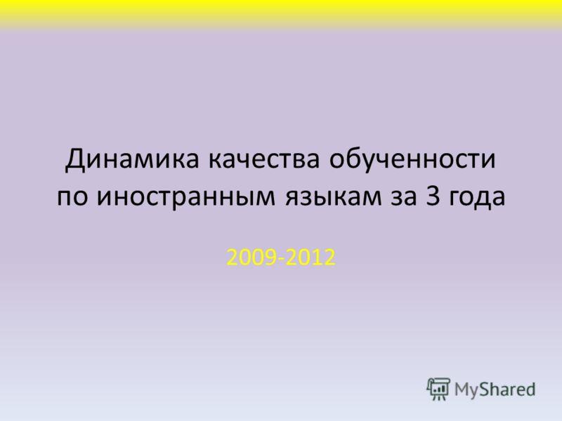 Динамика качества обученности по иностранным языкам за 3 года 2009-2012
