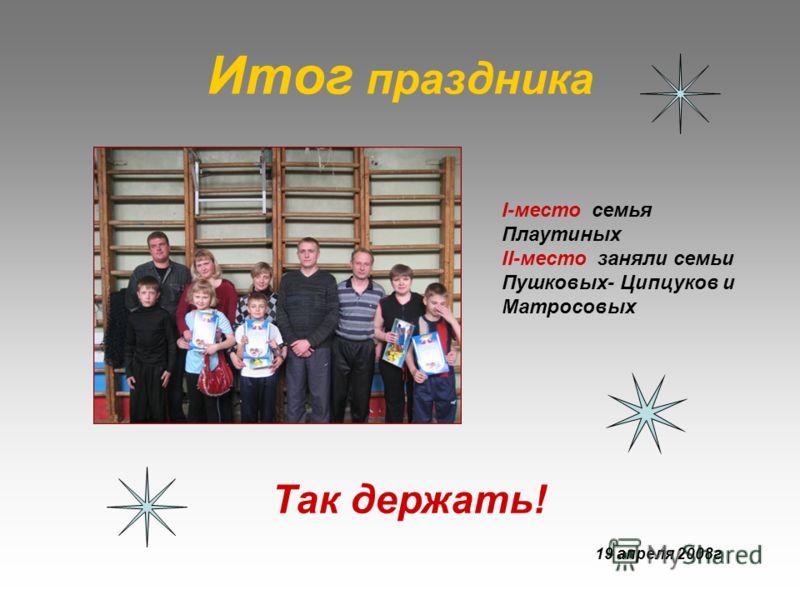 Итог праздника I-место семья Плаутиных II-место заняли семьи Пушковых- Ципцуков и Матросовых Так держать! 19 апреля 2008г