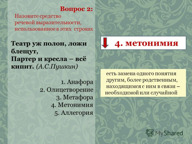 Вопрос 2: Назовите средство речевой выразительности, использованное в этих строках Театр уж полон, ложи блещут, Партер и кресла – всё кипит. (А.С.Пушкин) 1. Анафора 2. Олицетворение 3. Метафора 4. Метонимия 5. Аллегория 4. метонимия есть замена одног