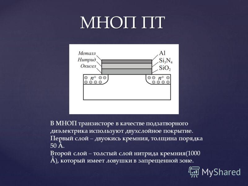 МНОП ПТ В МНОП транзисторе в качестве подзатворного диэлектрика используют двухслойное покрытие. Первый слой – двуокись кремния, толщина порядка 50 Å. Второй слой – толстый слой нитрида кремния(1000 Å), который имеет ловушки в запрещенной зоне.