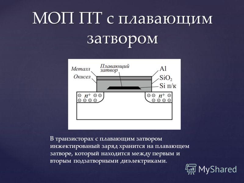 МОП ПТ с плавающим затвором В транзисторах с плавающим затвором инжектированый заряд хранится на плавающем затворе, который находится между первым и вторым подзатворными диэлектриками.