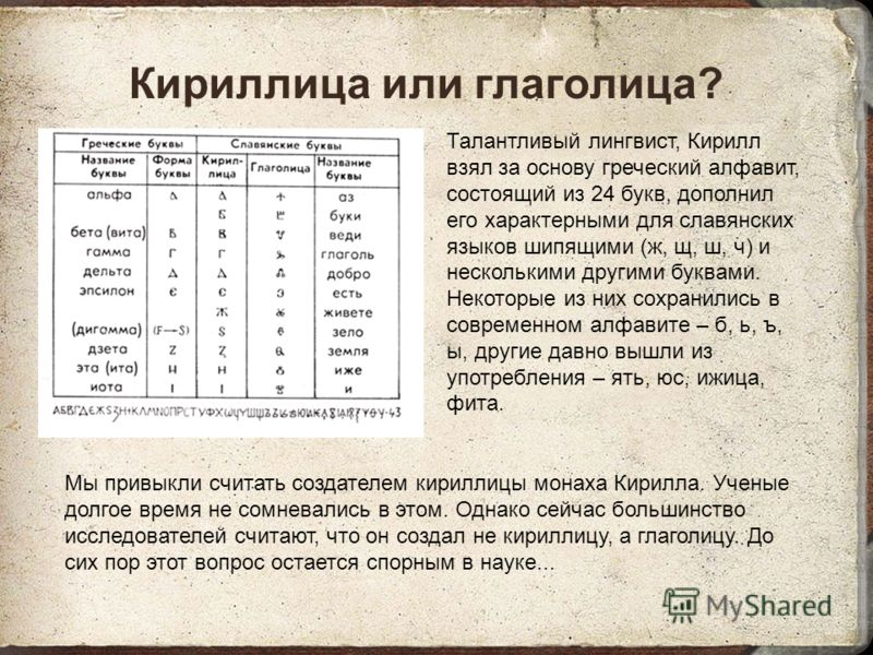 Кириллица или глаголица? Талантливый лингвист, Кирилл взял за основу греческий алфавит, состоящий из 24 букв, дополнил его характерными для славянских языков шипящими (ж, щ, ш, ч) и несколькими другими буквами. Некоторые из них сохранились в современ