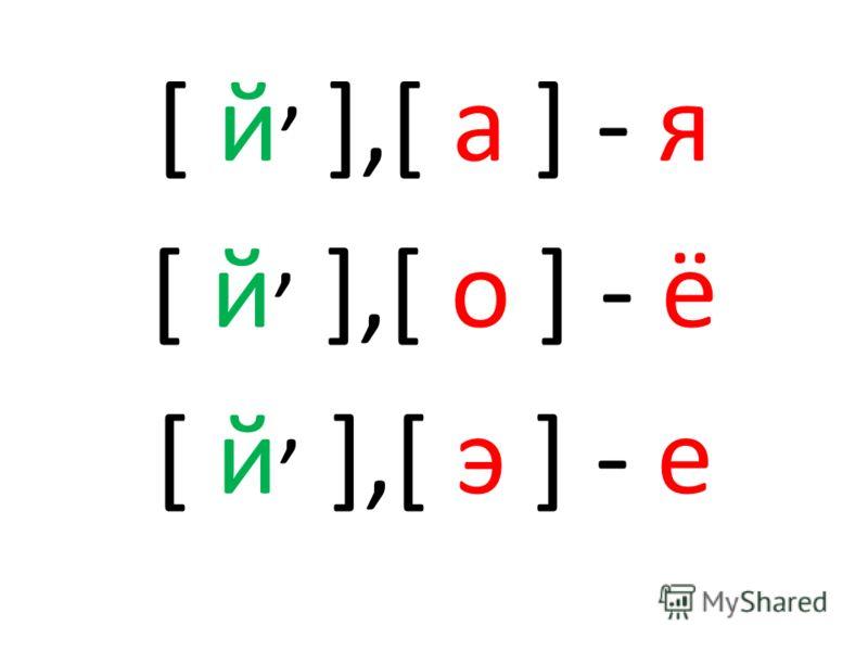 [ й, ],[ а ] - я [ й, ],[ о ] - ё [ й, ],[ э ] - е