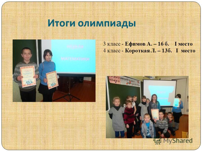 Итоги олимпиады 3 класс - Ефимов А. – 16 б. I место 4 класс - Короткая Л. – 13б. I место