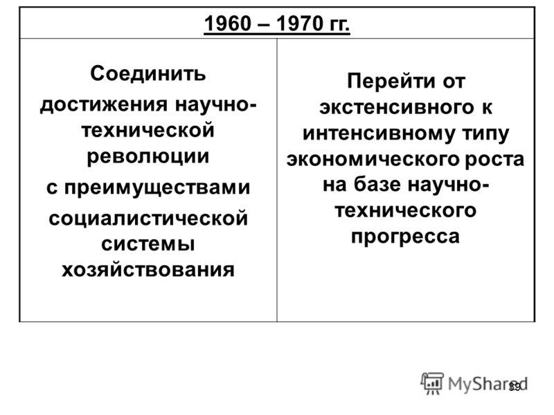 39 1960 – 1970 гг. Соединить достижения научно- технической революции с преимуществами социалистической системы хозяйствования Перейти от экстенсивного к интенсивному типу экономического роста на базе научно- технического прогресса