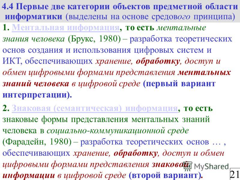 4.4 Первые две категории объектов предметной области информатики (выделены на основе средового принципа) 21 1. Ментальная информация, то есть ментальные знания человека (Брукс, 1980) – разработка теоретических основ создания и использования цифровых