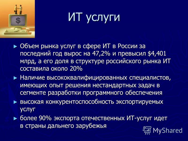 ИТ услуги Объем рынка услуг в сфере ИТ в России за последний год вырос на 47,2% и превысил $4,401 млрд, а его доля в структуре российского рынка ИТ составила около 20% Объем рынка услуг в сфере ИТ в России за последний год вырос на 47,2% и превысил $