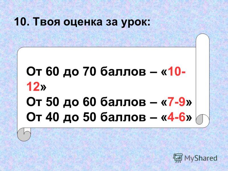 10. Твоя оценка за урок: От 60 до 70 баллов – «10- 12» От 50 до 60 баллов – «7-9» От 40 до 50 баллов – «4-6»