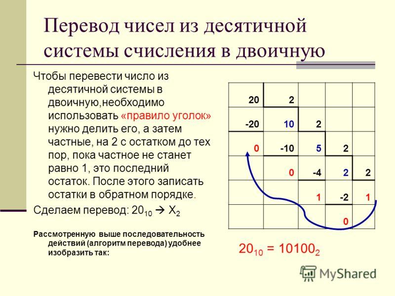 Перевод чисел из десятичной системы счисления в двоичную Чтобы перевести число из десятичной системы в двоичную,необходимо использовать «правило уголок» нужно делить его, а затем частные, на 2 с остатком до тех пор, пока частное не станет равно 1, эт