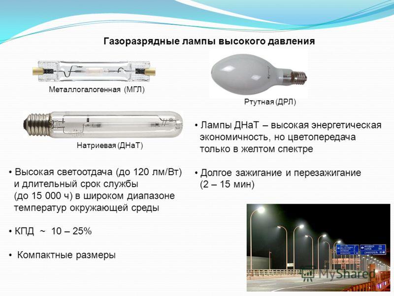 Газоразрядные лампы высокого давления Высокая светоотдача (до 120 лм/Вт) и длительный срок службы (до 15 000 ч) в широком диапазоне температур окружающей среды КПД ~ 10 – 25% Компактные размеры Металлогалогенная (МГЛ) Натриевая (ДНаТ) Ртутная (ДРЛ) Л