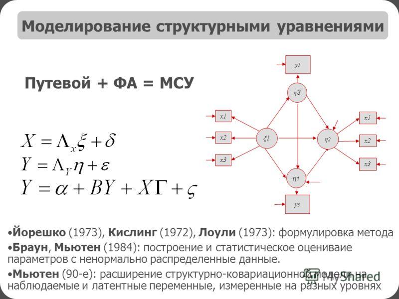 Йорешко (1973), Кислинг (1972), Лоули (1973): формулировка метода Браун, Мьютен (1984): построение и статистическое оцениваие параметров с ненормально распределенные данные. Мьютен (90-е): расширение структурно-ковариационной модели на наблюдаемые и