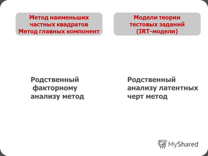 Модели теории тестовых заданий (IRT-модели) Метод наименьших частных квадратов Метод главных компонент Родственный анализу латентных черт метод Родственный факторному анализу метод