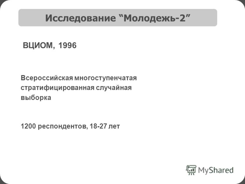Исследование Молодежь-2 1200 респондентов, 18-27 лет ВЦИОМ, 1996 Всероссийская многоступенчатая стратифицированная случайная выборка