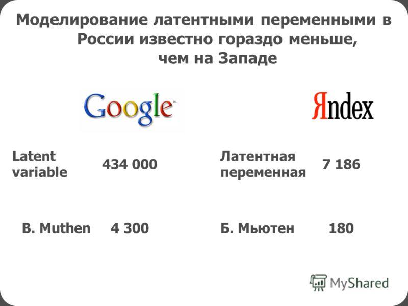 Моделирование латентными переменными в России известно гораздо меньше, чем на Западе 434 0007 186 4 300 Latent variable 180Б. МьютенB. Muthen Латентная переменная
