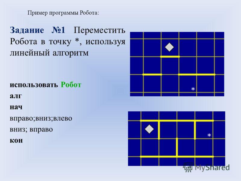 использовать Робот алг нач вправо;вниз;влево вниз; вправо кон Пример программы Робота: Задание 1 Переместить Робота в точку *, используя линейный алгоритм