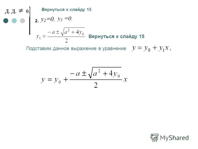 2. Вернуться к слайду 15 Подставим данное выражение в уравнение