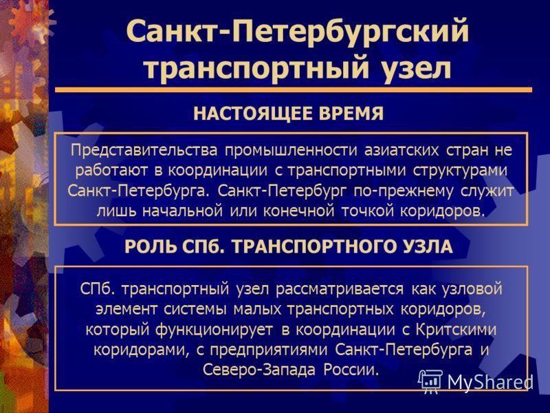 Санкт-Петербургский транспортный узел СПб. транспортный узел рассматривается как узловой элемент системы малых транспортных коридоров, который функционирует в координации с Критскими коридорами, с предприятиями Санкт-Петербурга и Северо-Запада России