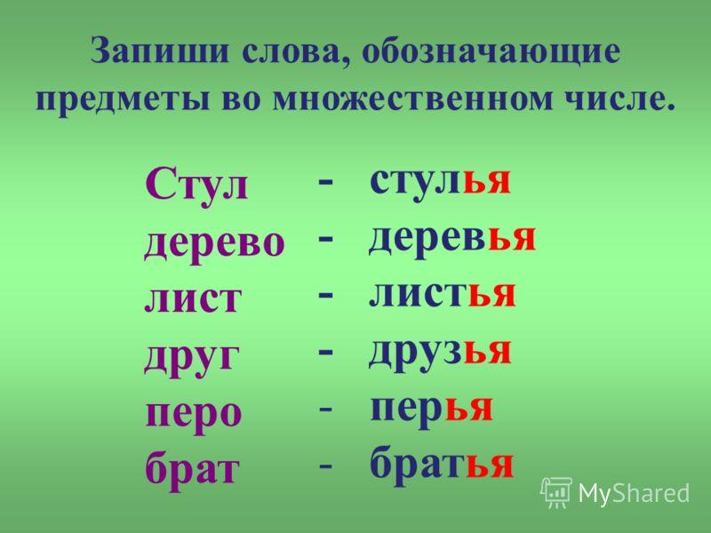 Запиши слова, обозначающие предметы во множественном числе. Стул дерево лист друг перо брат - стулья - деревья - листья - друзья - перья - братья