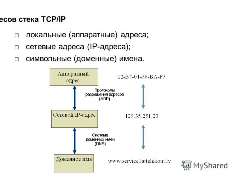 Типы адресов стека TCP/IP локальные (аппаратные) адреса; сетевые адреса (IP-адреса); символьные (доменные) имена.