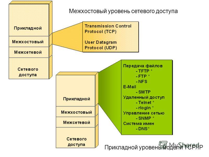 Межхостовый уровень сетевого доступа Прикладной уровень модели TCP/IP