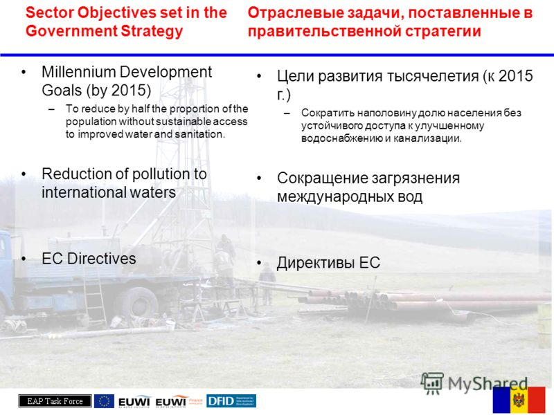 Millennium Development Goals (by 2015) –To reduce by half the proportion of the population without sustainable access to improved water and sanitation. Reduction of pollution to international waters EC Directives Sector Objectives set in the Governme