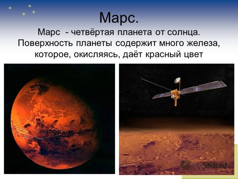 Марс. Марс - четвёртая планета от солнца. Поверхность планеты содержит много железа, которое, окисляясь, даёт красный цвет