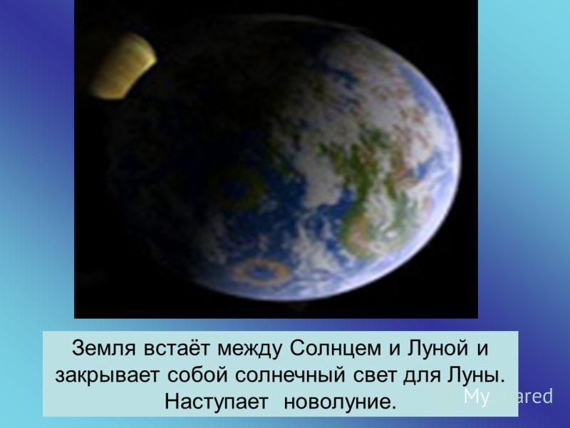 Земля встаёт между Солнцем и Луной и закрывает собой солнечный свет для Луны. Наступает новолуние.