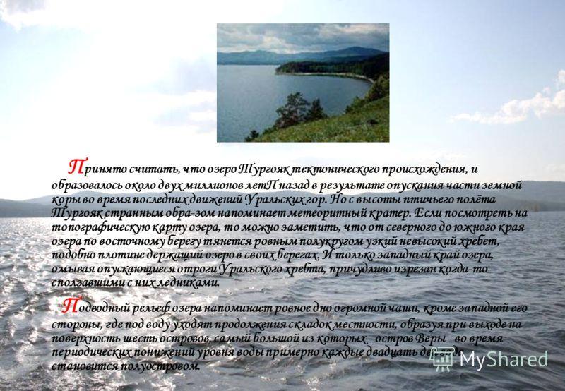 П ринято считать, что озеро Тургояк тектонического происхождения, и образовалось около двух миллионов летП назад в результате опускания части земной коры во время последних движений Уральских гор. Но с высоты птичьего полёта Тургояк странным обра-зом