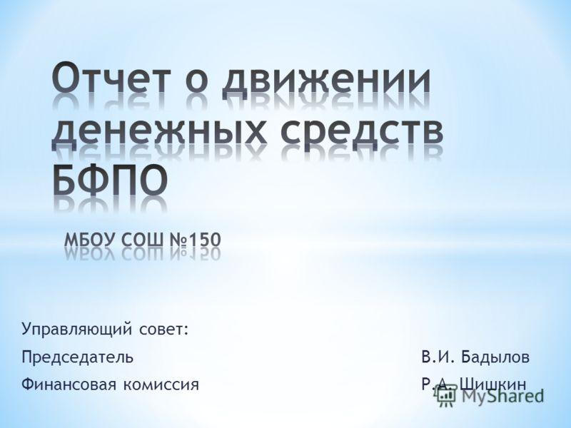 Управляющий совет: ПредседательВ.И. Бадылов Финансовая комиссия Р.А. Шишкин